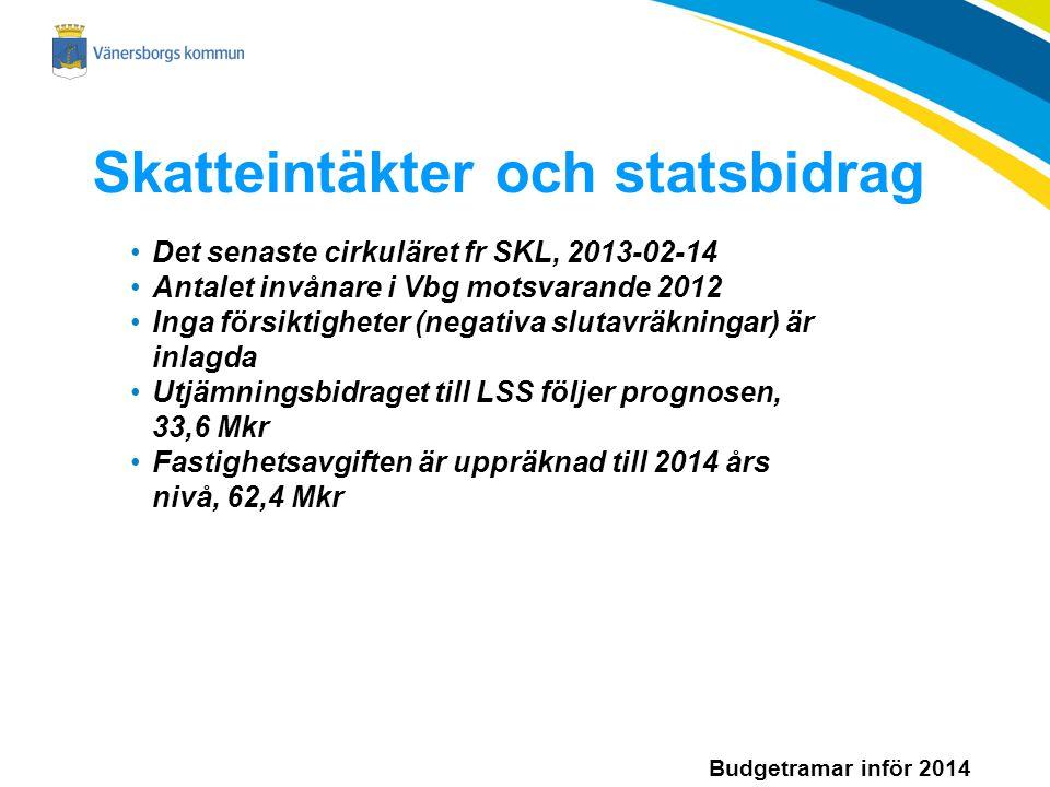 Budgetramar inför 2014 Skatteintäkter och statsbidrag Det senaste cirkuläret fr SKL, 2013-02-14 Antalet invånare i Vbg motsvarande 2012 Inga försiktigheter (negativa slutavräkningar) är inlagda Utjämningsbidraget till LSS följer prognosen, 33,6 Mkr Fastighetsavgiften är uppräknad till 2014 års nivå, 62,4 Mkr