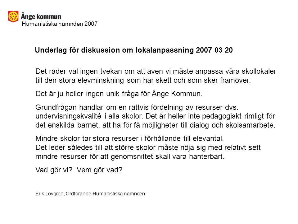 Humanistiska nämnden 2007 Underlag för diskussion om lokalanpassning 2007 03 20 Det råder väl ingen tvekan om att även vi måste anpassa våra skollokaler till den stora elevminskning som har skett och som sker framöver.