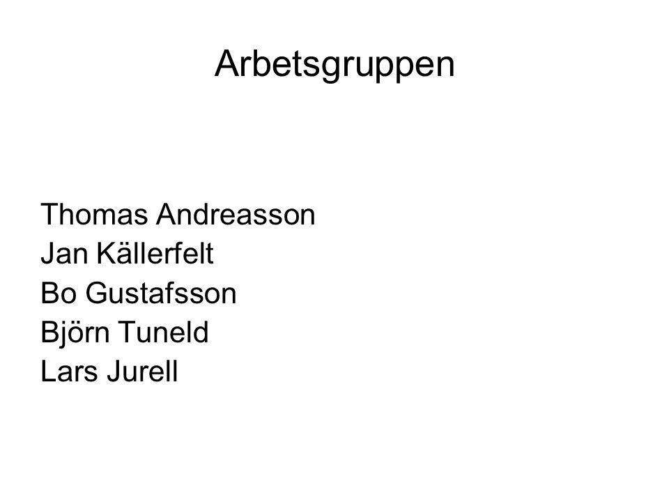 Arbetsgruppen Thomas Andreasson Jan Källerfelt Bo Gustafsson Björn Tuneld Lars Jurell