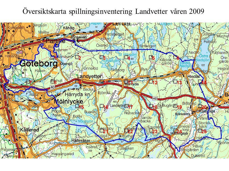 Översiktskarta spillningsinventering Landvetter våren 2009