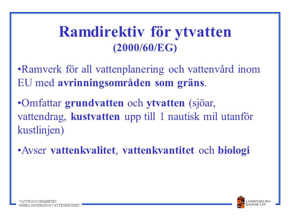 VATTENMYNDIGHETEN SÖDRA ÖSTERSJÖNS VATTENDISTRIKT Ramdirektiv för ytvatten (2000/60/EG) Ramverk för all vattenplanering och vattenvård inom EU med avr