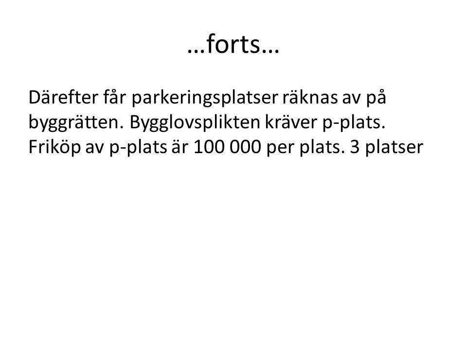 …forts… Därefter får parkeringsplatser räknas av på byggrätten. Bygglovsplikten kräver p-plats. Friköp av p-plats är 100 000 per plats. 3 platser