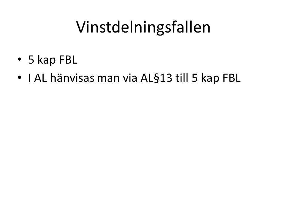 Vinstdelningsfallen 5 kap FBL I AL hänvisas man via AL§13 till 5 kap FBL
