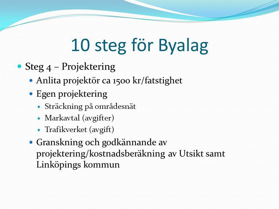 10 steg för Byalag Steg 4 – Projektering Anlita projektör ca 1500 kr/fatstighet Egen projektering Sträckning på områdesnät Markavtal (avgifter) Trafik