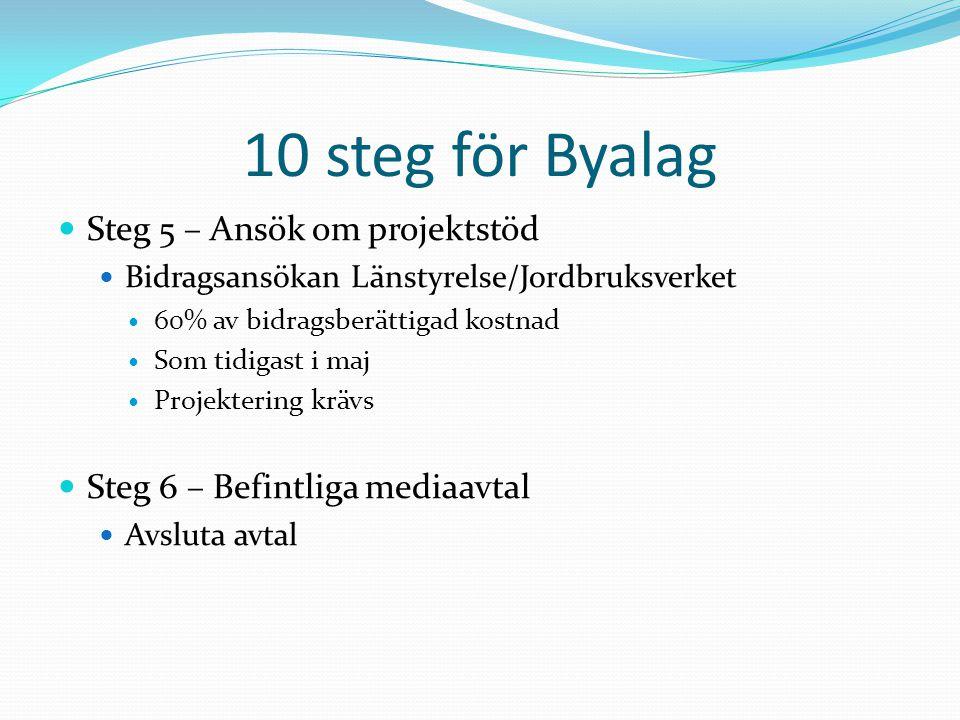 10 steg för Byalag Steg 5 – Ansök om projektstöd Bidragsansökan Länstyrelse/Jordbruksverket 60% av bidragsberättigad kostnad Som tidigast i maj Projek