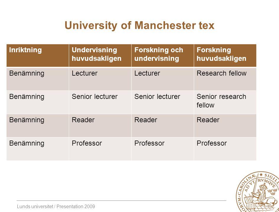 Lunds universitet / Presentation 2009 University of Manchester tex InriktningUndervisning huvudsakligen Forskning och undervisning Forskning huvudsakl