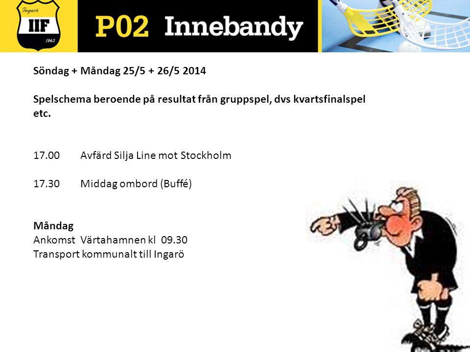 Söndag + Måndag 25/5 + 26/5 2014 Spelschema beroende på resultat från gruppspel, dvs kvartsfinalspel etc. 17.00 Avfärd Silja Line mot Stockholm 17.30M