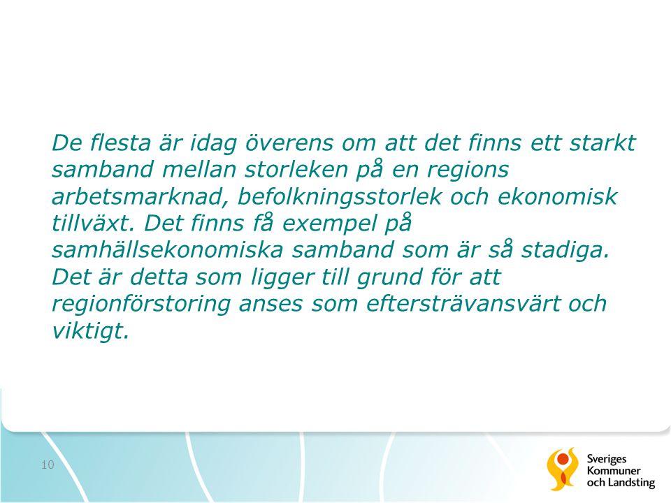 10 De flesta är idag överens om att det finns ett starkt samband mellan storleken på en regions arbetsmarknad, befolkningsstorlek och ekonomisk tillvä