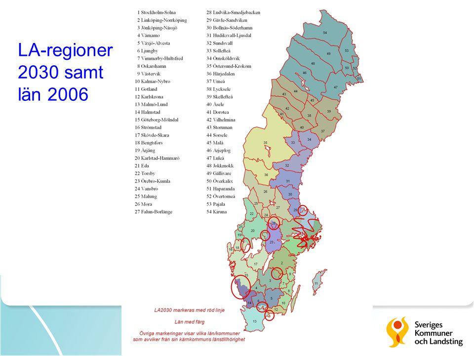 LA-regioner 2030 samt län 2006