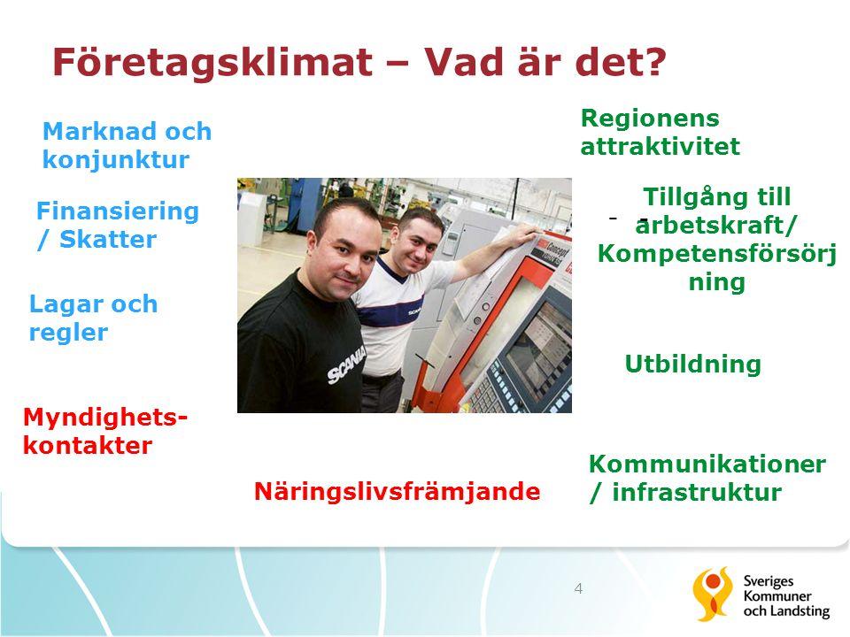 Företagsklimat – Vad är det? 4 Marknad och konjunktur Regionens attraktivitet Tillgång till arbetskraft/ Kompetensförsörj ning Kommunikationer / infra