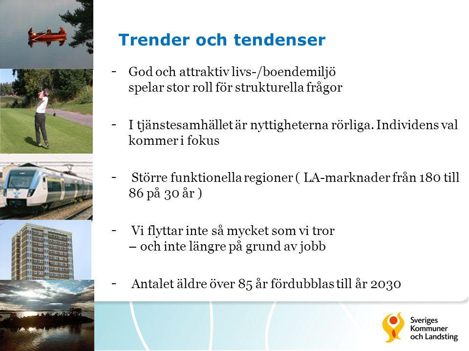 7 Trender och tendenser - God och attraktiv livs-/boendemiljö spelar stor roll för strukturella frågor - I tjänstesamhället är nyttigheterna rörliga.