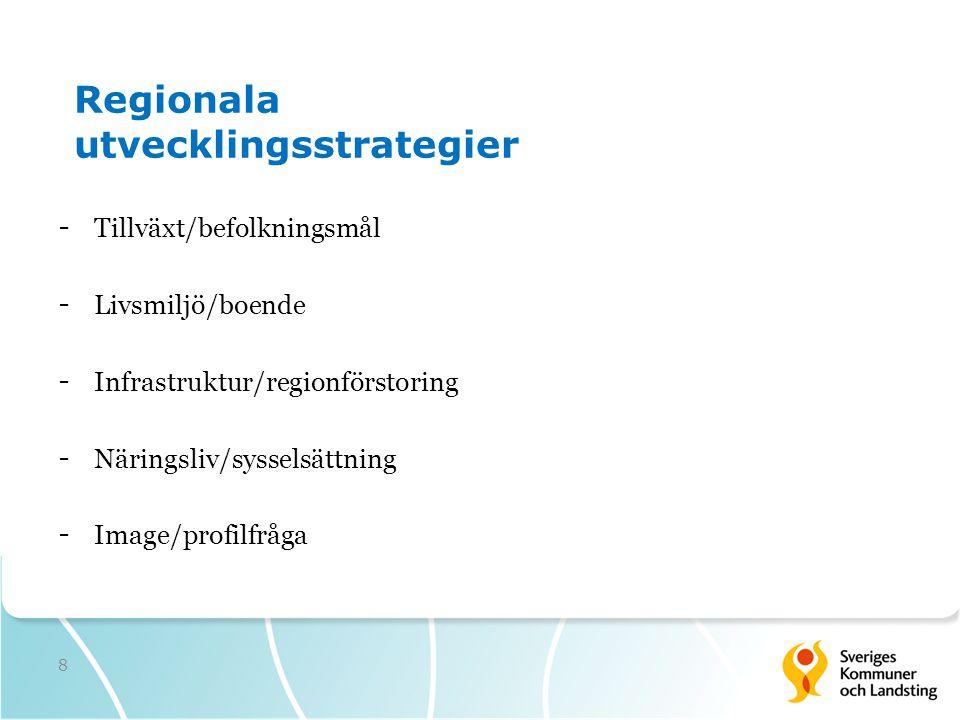8 Regionala utvecklingsstrategier - Tillväxt/befolkningsmål - Livsmiljö/boende - Infrastruktur/regionförstoring - Näringsliv/sysselsättning - Image/pr