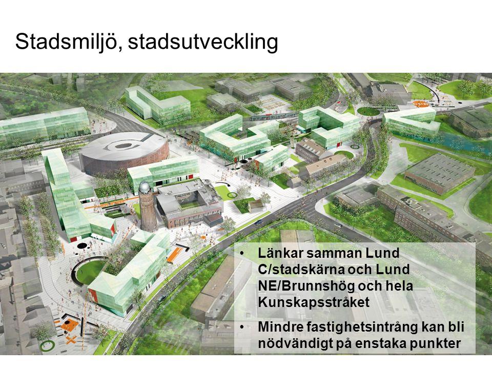 Länkar samman Lund C/stadskärna och Lund NE/Brunnshög och hela Kunskapsstråket Mindre fastighetsintrång kan bli nödvändigt på enstaka punkter FOJAB ar