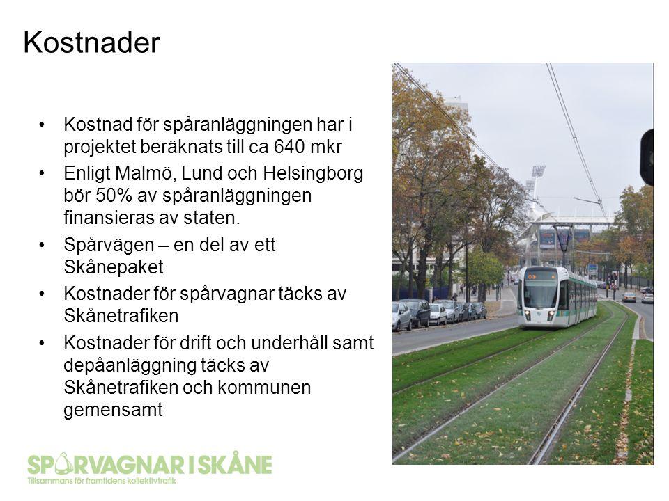 Kostnad för spåranläggningen har i projektet beräknats till ca 640 mkr Enligt Malmö, Lund och Helsingborg bör 50% av spåranläggningen finansieras av s