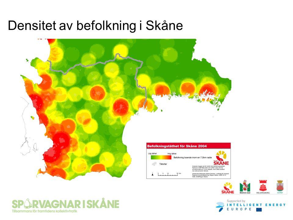 Densitet av befolkning i Skåne