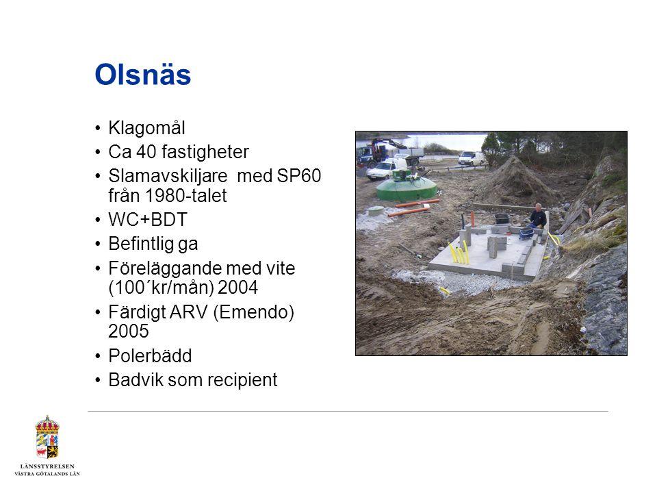 Olsnäs Klagomål Ca 40 fastigheter Slamavskiljare med SP60 från 1980-talet WC+BDT Befintlig ga Föreläggande med vite (100´kr/mån) 2004 Färdigt ARV (Emendo) 2005 Polerbädd Badvik som recipient