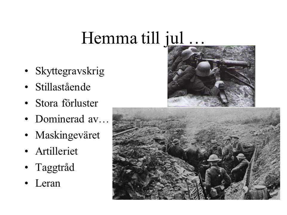Hemma till jul … Skyttegravskrig Stillastående Stora förluster Dominerad av… Maskingeväret Artilleriet Taggtråd Leran