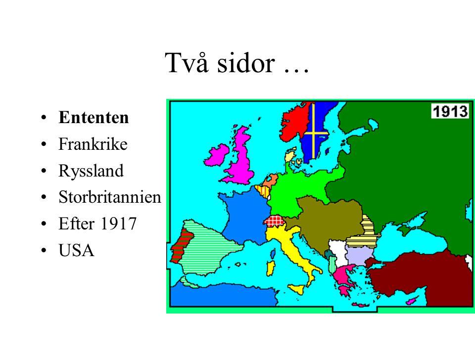 Två sidor … Ententen Frankrike Ryssland Storbritannien Efter 1917 USA