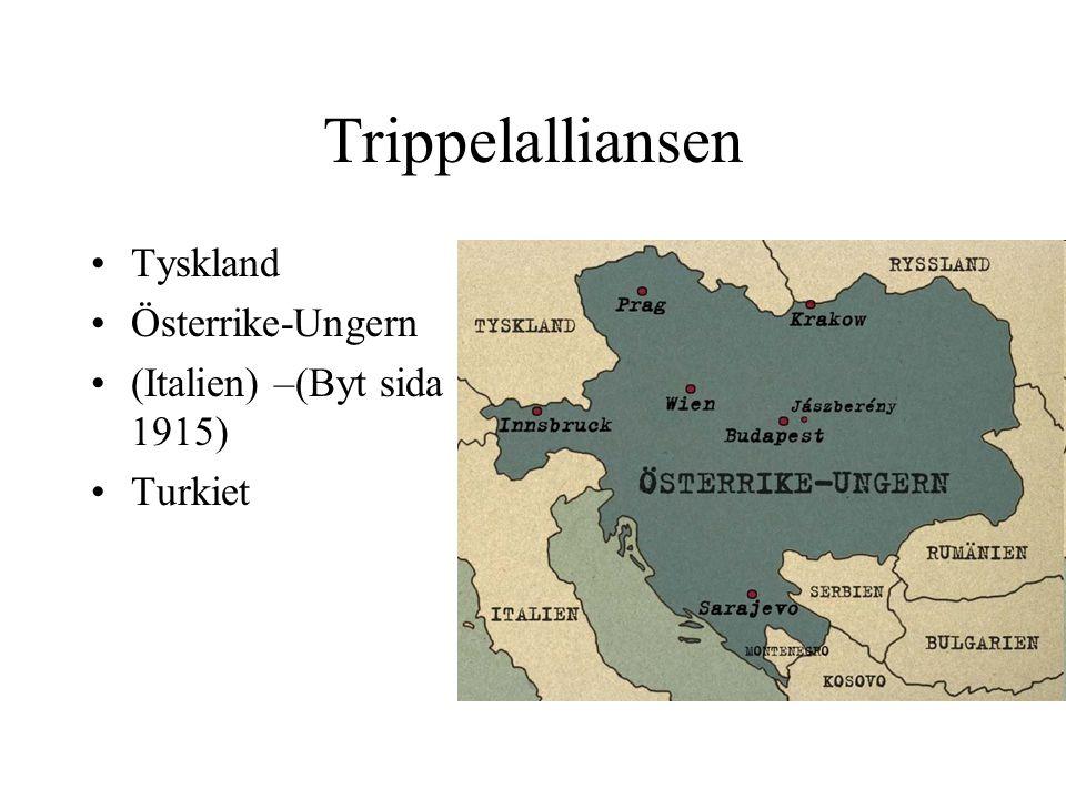 Trippelalliansen Tyskland Österrike-Ungern (Italien) –(Byt sida 1915) Turkiet