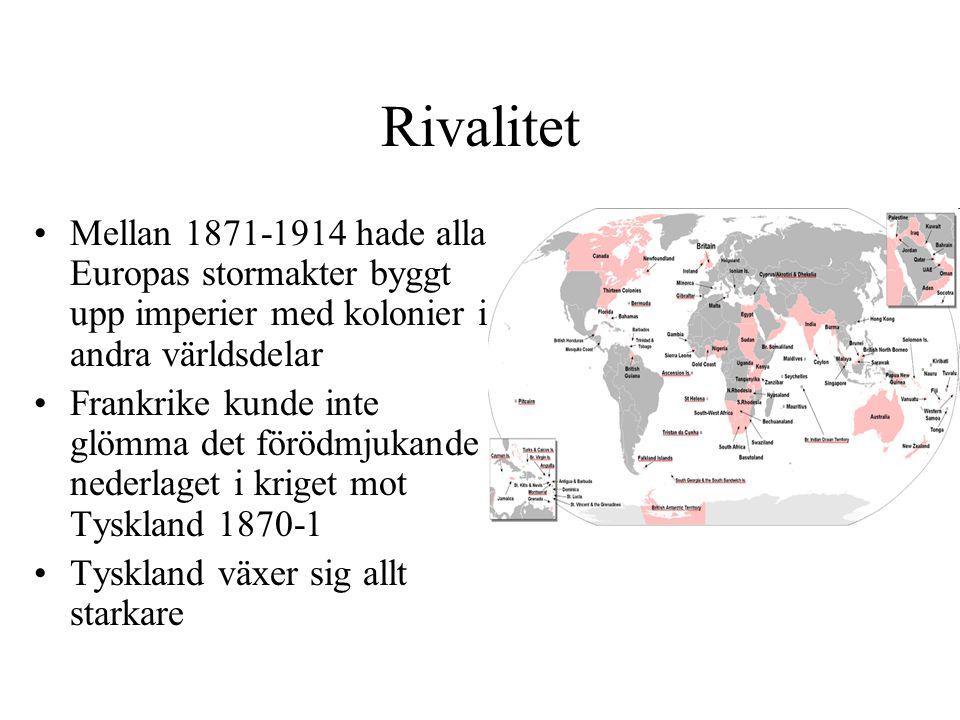 Rivalitet Mellan 1871-1914 hade alla Europas stormakter byggt upp imperier med kolonier i andra världsdelar Frankrike kunde inte glömma det förödmjuka