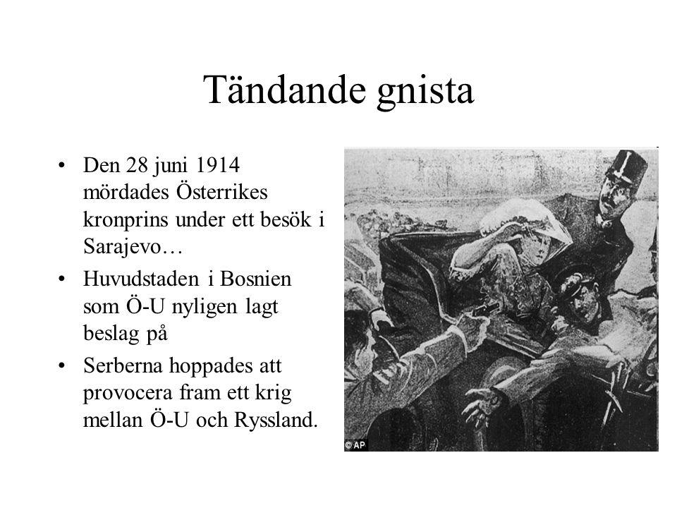 Tändande gnista Den 28 juni 1914 mördades Österrikes kronprins under ett besök i Sarajevo… Huvudstaden i Bosnien som Ö-U nyligen lagt beslag på Serber