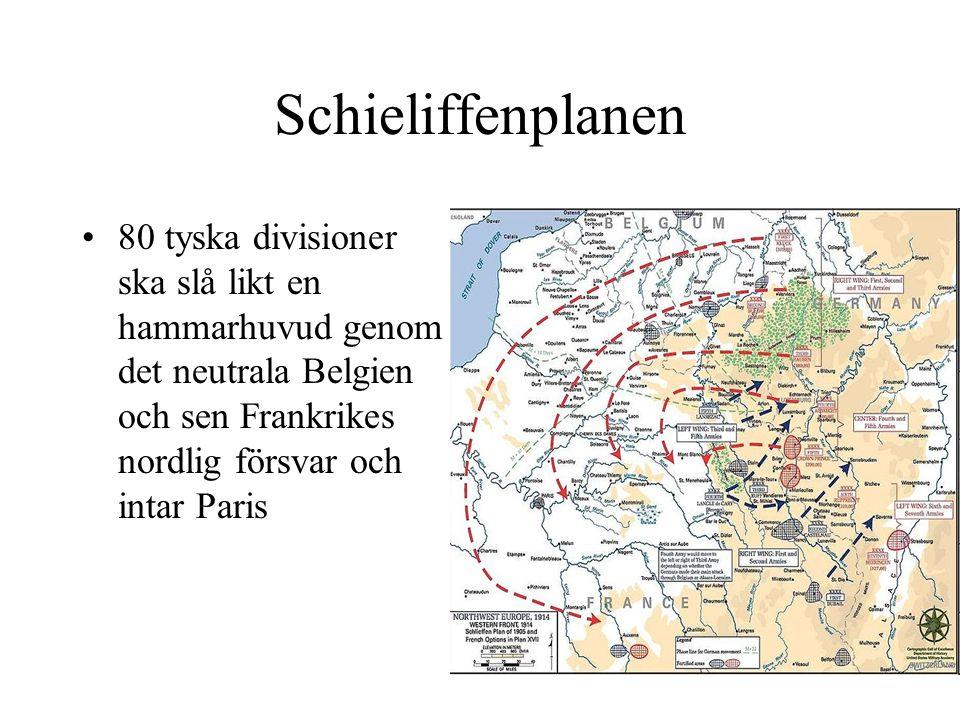 Schieliffenplanen 80 tyska divisioner ska slå likt en hammarhuvud genom det neutrala Belgien och sen Frankrikes nordlig försvar och intar Paris