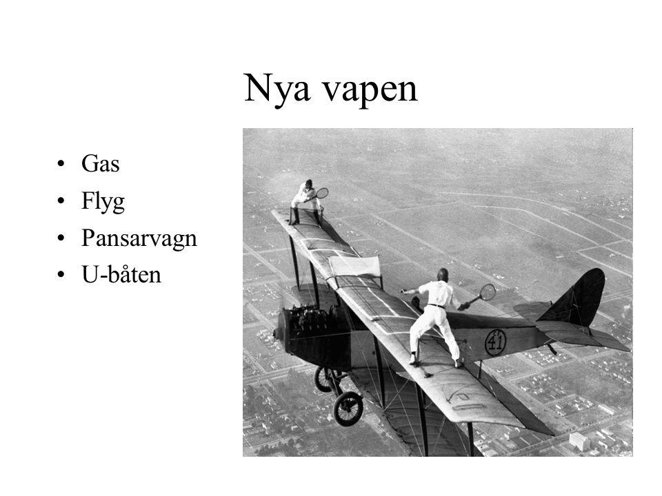 Nya vapen Gas Flyg Pansarvagn U-båten