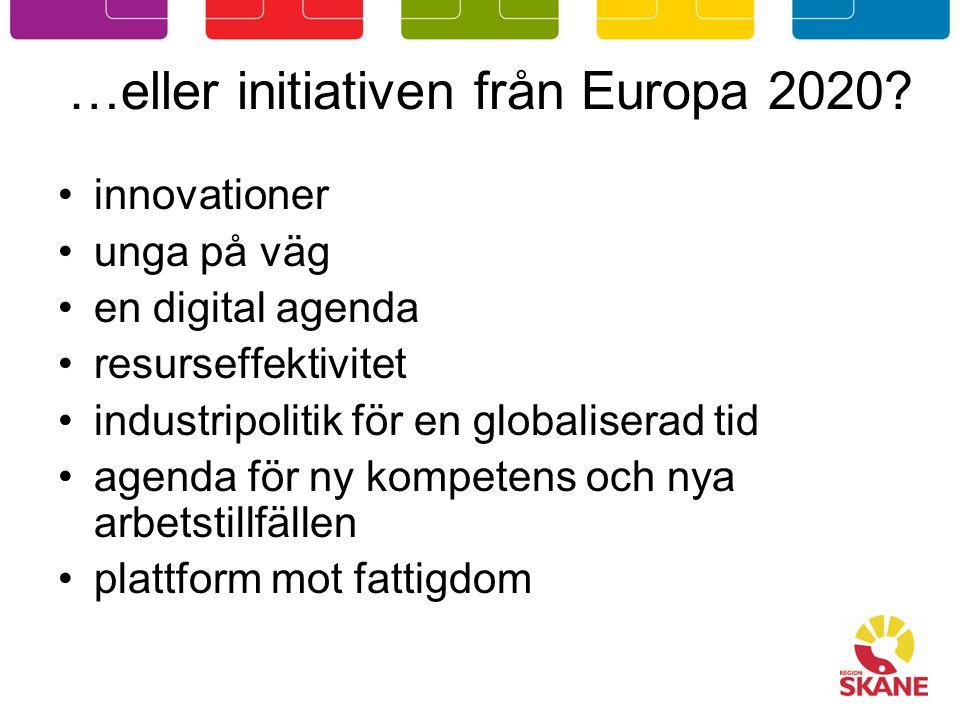 …eller initiativen från Europa 2020.
