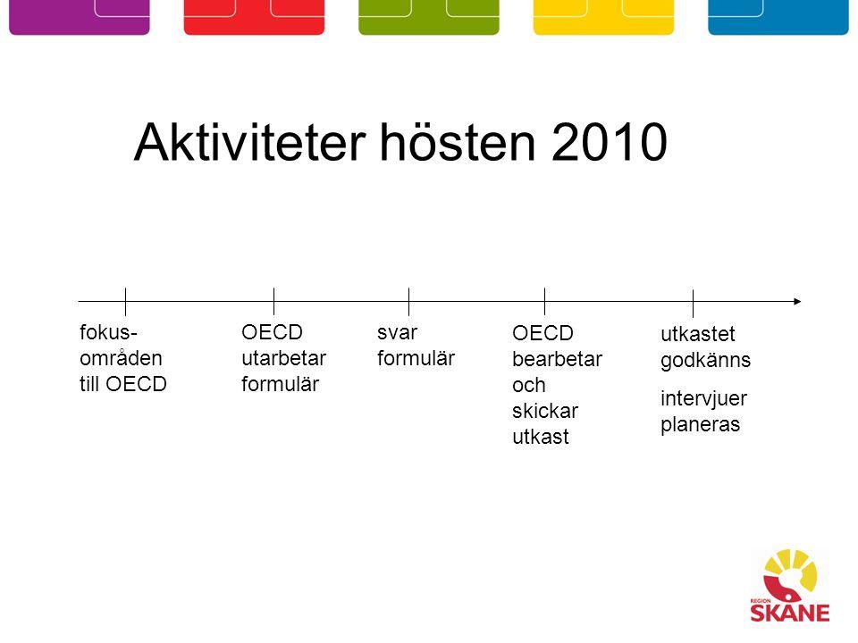 Aktiviteter hösten 2010 fokus- områden till OECD svar formulär OECD bearbetar och skickar utkast OECD utarbetar formulär utkastet godkänns intervjuer planeras
