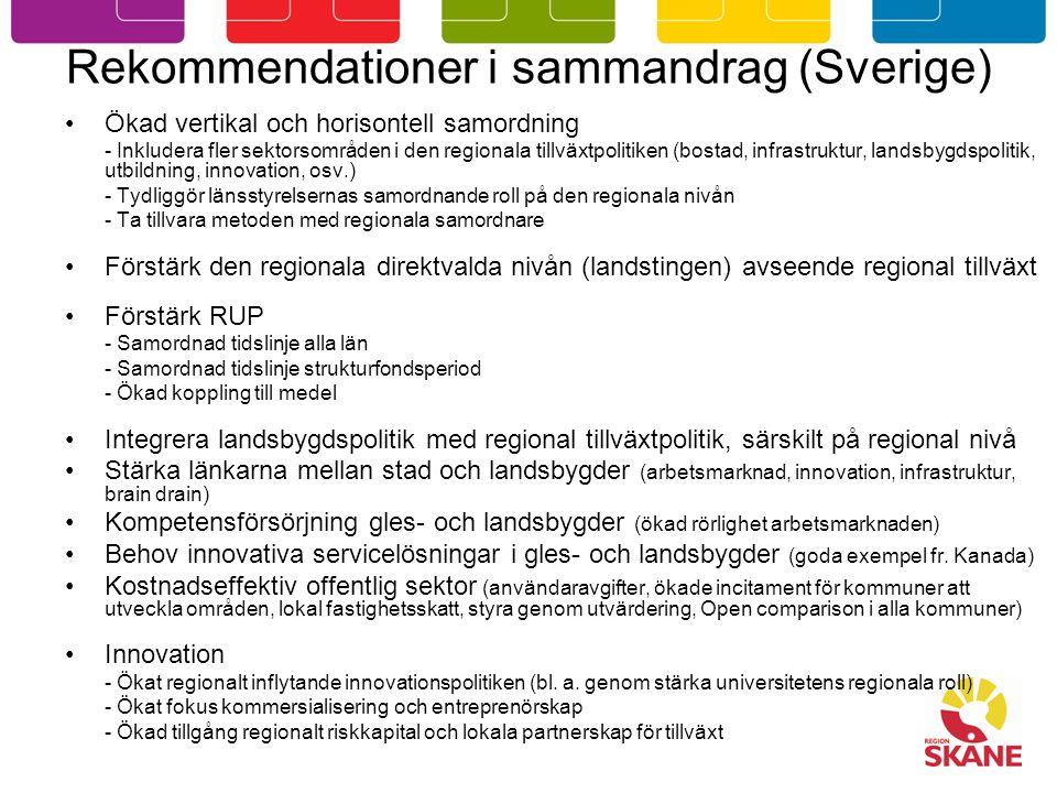 Rekommendationer i sammandrag (Sverige) Ökad vertikal och horisontell samordning - Inkludera fler sektorsområden i den regionala tillväxtpolitiken (bostad, infrastruktur, landsbygdspolitik, utbildning, innovation, osv.) - Tydliggör länsstyrelsernas samordnande roll på den regionala nivån - Ta tillvara metoden med regionala samordnare Förstärk den regionala direktvalda nivån (landstingen) avseende regional tillväxt Förstärk RUP - Samordnad tidslinje alla län - Samordnad tidslinje strukturfondsperiod - Ökad koppling till medel Integrera landsbygdspolitik med regional tillväxtpolitik, särskilt på regional nivå Stärka länkarna mellan stad och landsbygder (arbetsmarknad, innovation, infrastruktur, brain drain) Kompetensförsörjning gles- och landsbygder (ökad rörlighet arbetsmarknaden) Behov innovativa servicelösningar i gles- och landsbygder (goda exempel fr.