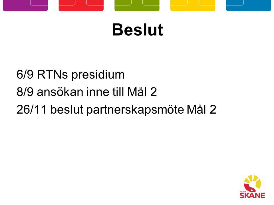 Beslut 6/9 RTNs presidium 8/9 ansökan inne till Mål 2 26/11 beslut partnerskapsmöte Mål 2