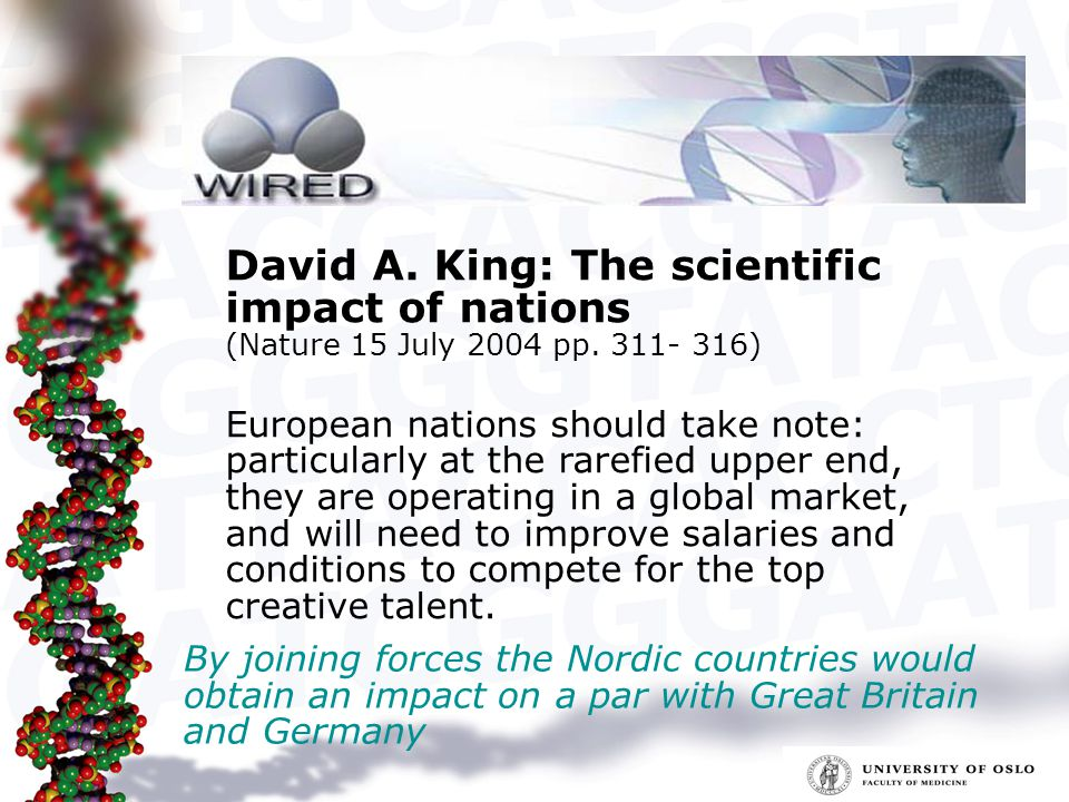 David A. King: The scientific impact of nations (Nature 15 July 2004 pp.