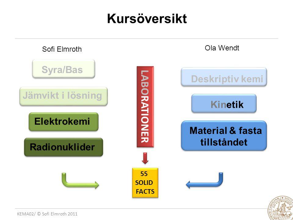 KEMA02/ © Sofi Elmroth 2011 13.8 Standardpotentialer och jämviktskonstanter SAMBAND ATT UTNYTTJA:  G = - nFE  G= - RTlnK nFE = RTlnK lnK = nFE RT TÄNKVÄRT 1: om E = 0 V så blir K =......