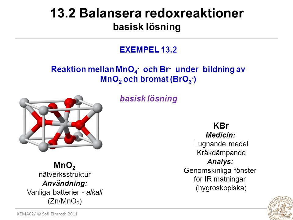 KEMA02/ © Sofi Elmroth 2011 Nomenlatur GALVANISKA CELLER mm ELEKTROKEMISK CELL: Utrustning där en elektrisk ström antingen produceras (galvanisk cell) eller tillförs (elektrolys) GALVANISK CELL: Elektrokemisk cell där en spontan kemisk reaktion används för att generera en elektrisk ström Exempel: NiCd batteri ELEKTROLYTISK CELL/ELEKTROLYS: Elektrokemisk cell där ström används för att driva en kemisk reaktion i ogynnsam riktining Exempel: Framställning av Al(s)