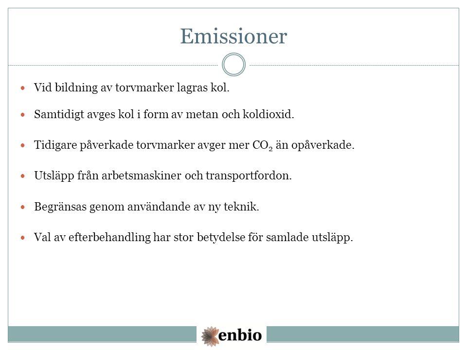 Emissioner Vid bildning av torvmarker lagras kol. Samtidigt avges kol i form av metan och koldioxid. Tidigare påverkade torvmarker avger mer CO 2 än o