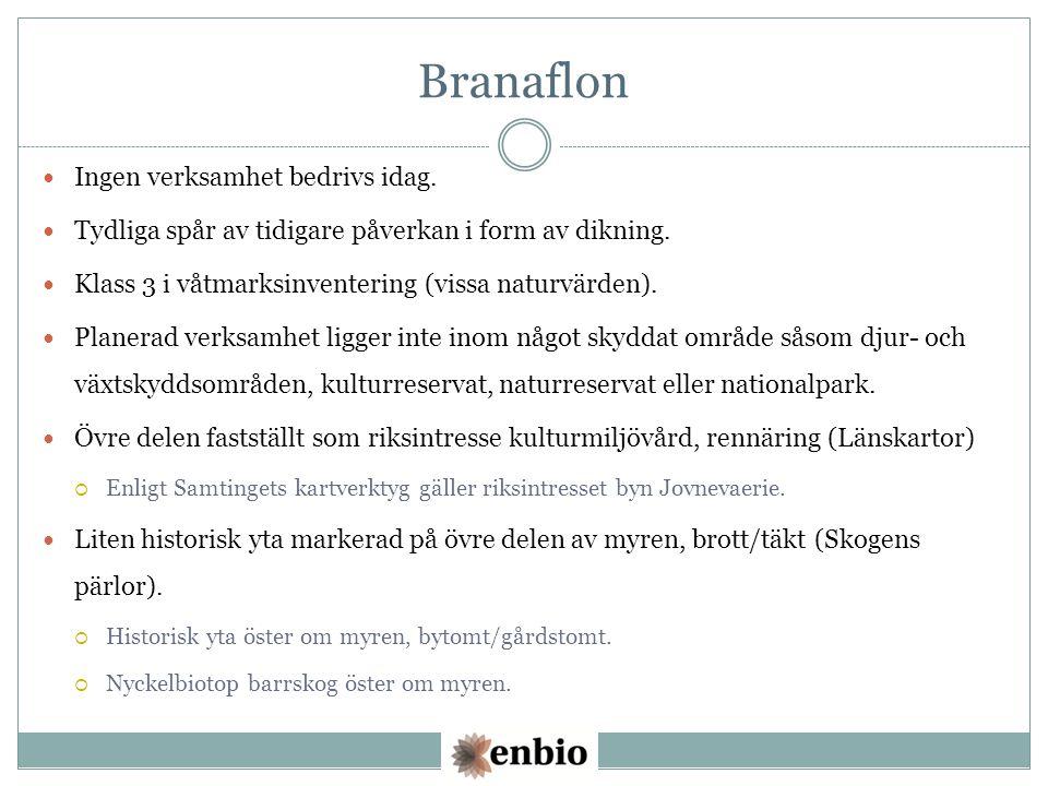 Branaflon Ingen verksamhet bedrivs idag. Tydliga spår av tidigare påverkan i form av dikning.