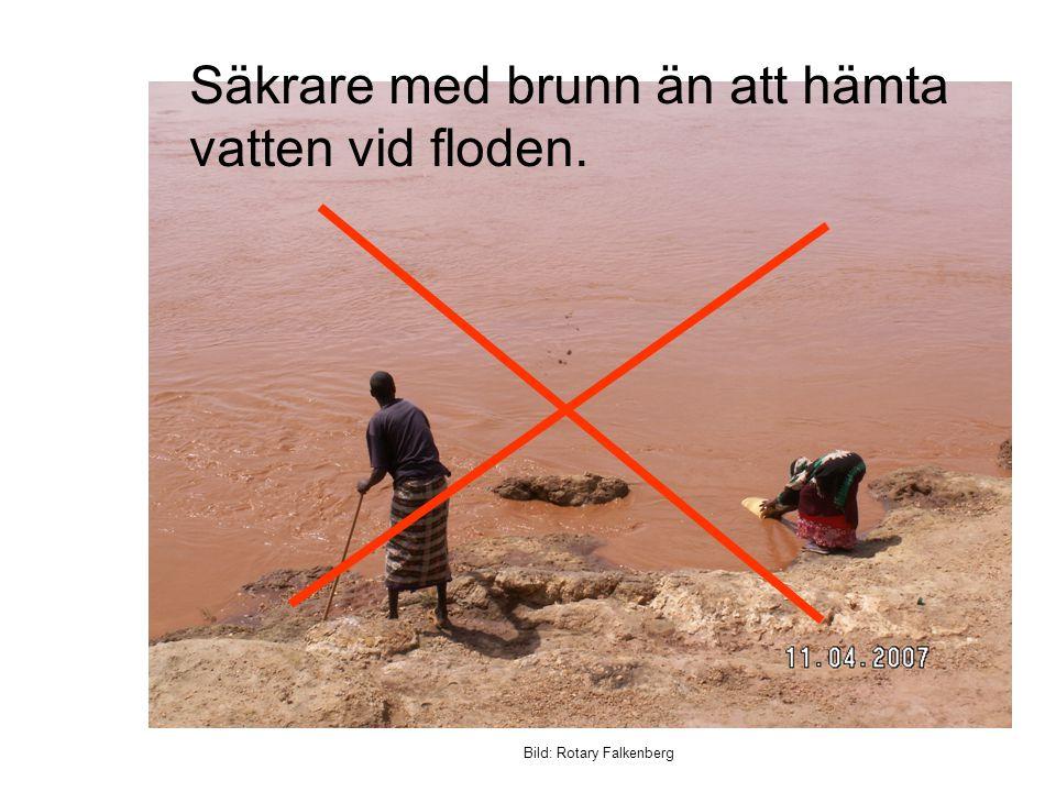 Bild: Rotary Falkenberg Säkrare med brunn än att hämta vatten vid floden.