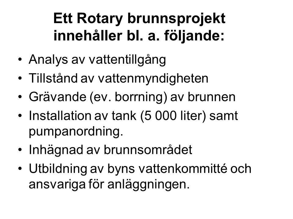 Ett Rotary brunnsprojekt innehåller bl. a.