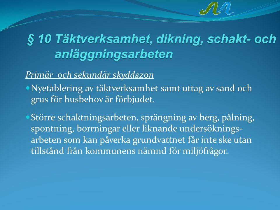 § 10Täktverksamhet, dikning, schakt- och anläggningsarbeten Primär och sekundär skyddszon Nyetablering av täktverksamhet samt uttag av sand och grus för husbehov är förbjudet.