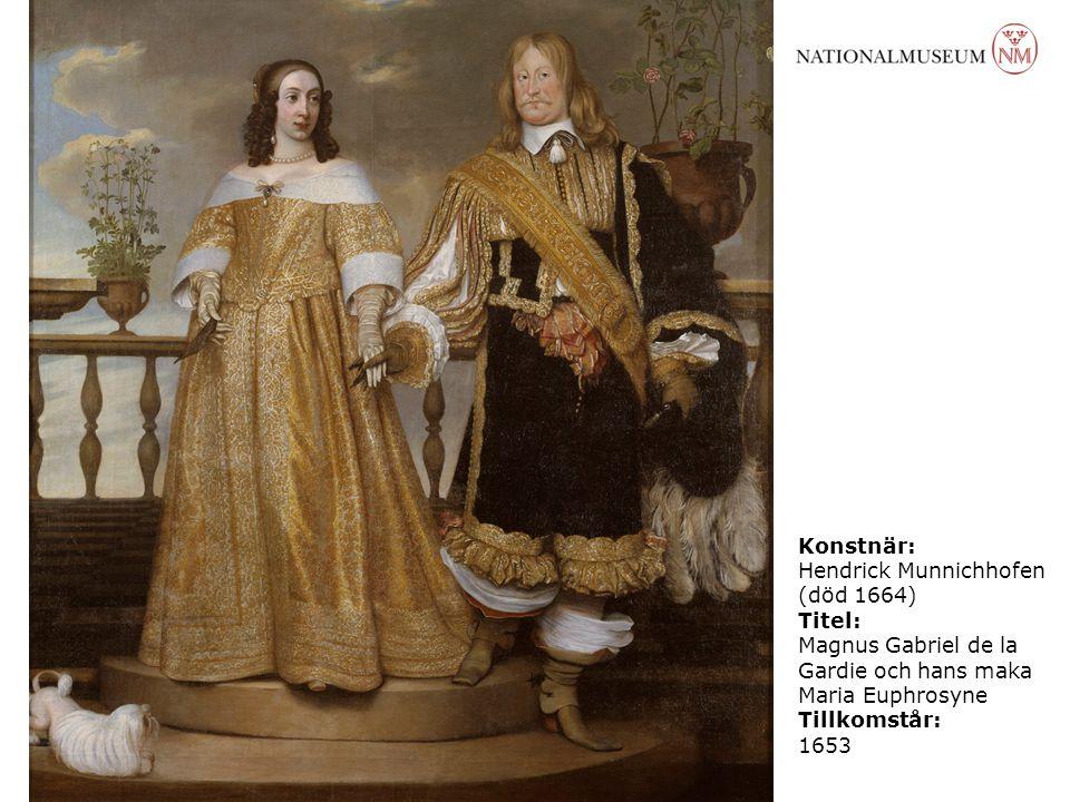 Konstnär: Hendrick Munnichhofen (död 1664) Titel: Magnus Gabriel de la Gardie och hans maka Maria Euphrosyne Tillkomstår: 1653