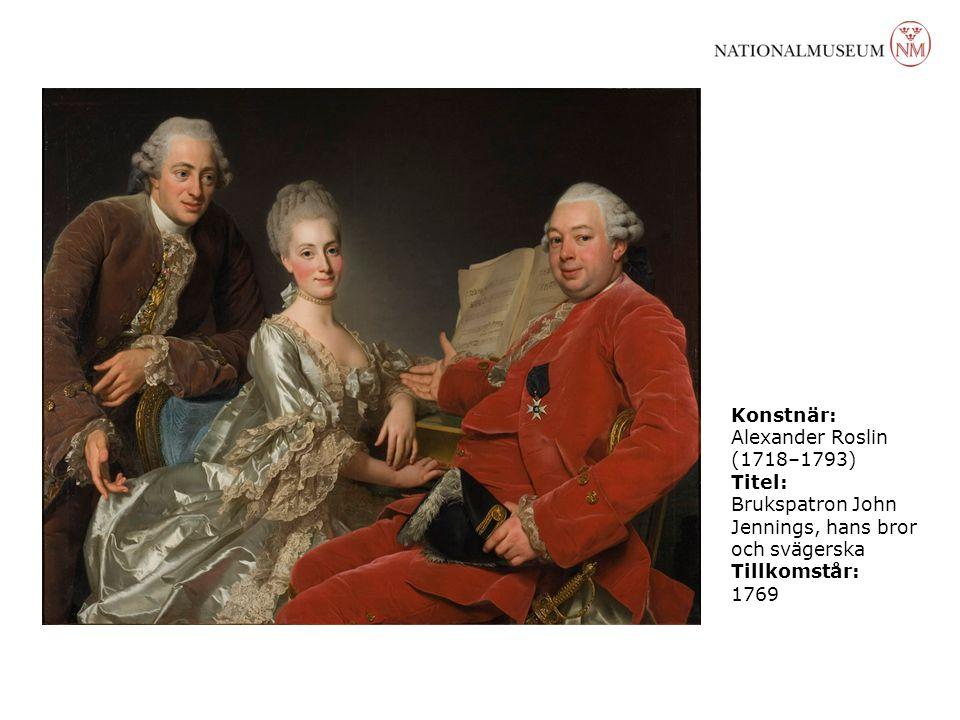 Konstnär: Alexander Roslin (1718–1793) Titel: Brukspatron John Jennings, hans bror och svägerska Tillkomstår: 1769