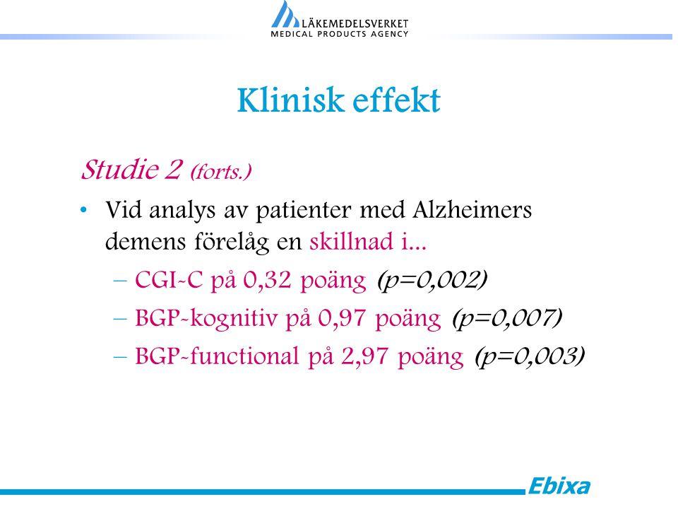 Ebixa Klinisk effekt Studie 2 (forts.) Vid analys av patienter med Alzheimers demens förelåg en skillnad i...