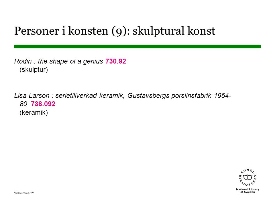 Sidnummer 21 Personer i konsten (9): skulptural konst Rodin : the shape of a genius 730.92 (skulptur) Lisa Larson : serietillverkad keramik, Gustavsbergs porslinsfabrik 1954- 80 738.092 (keramik)