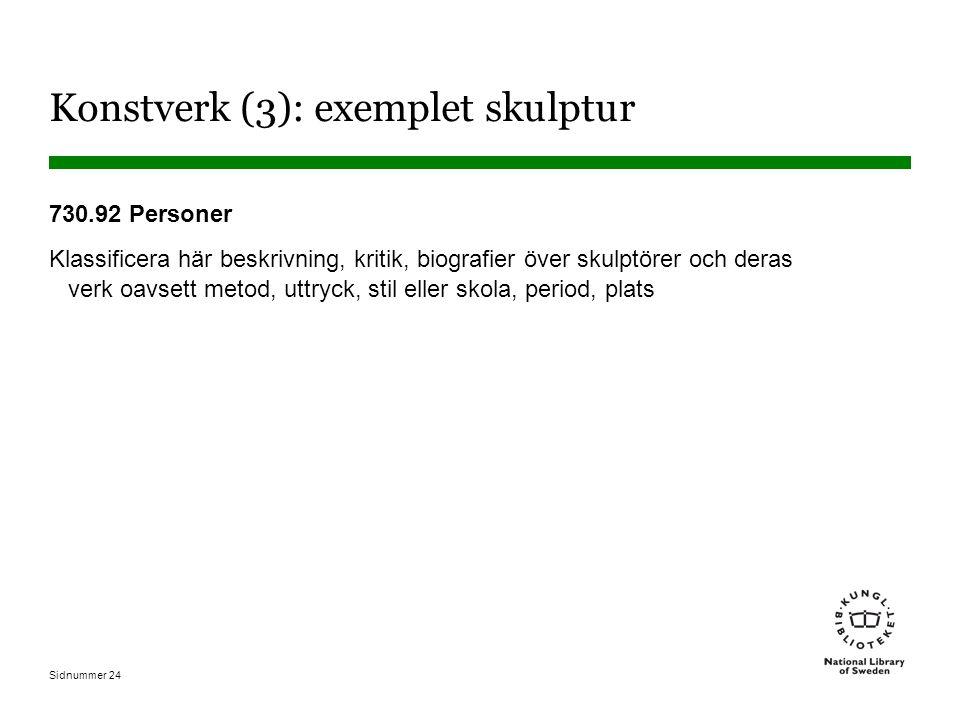Sidnummer 24 Konstverk (3): exemplet skulptur 730.92 Personer Klassificera här beskrivning, kritik, biografier över skulptörer och deras verk oavsett metod, uttryck, stil eller skola, period, plats