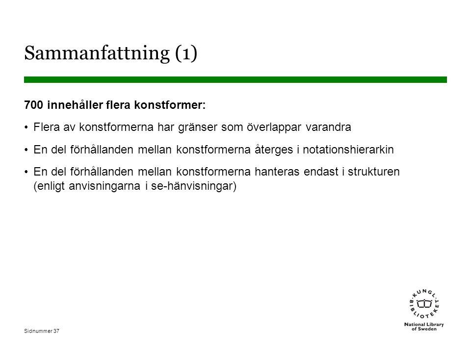 Sidnummer 37 Sammanfattning (1) 700 innehåller flera konstformer: Flera av konstformerna har gränser som överlappar varandra En del förhållanden mellan konstformerna återges i notationshierarkin En del förhållanden mellan konstformerna hanteras endast i strukturen (enligt anvisningarna i se-hänvisningar)