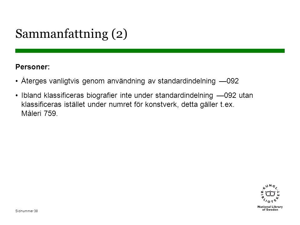 Sidnummer 38 Sammanfattning (2) Personer: Återges vanligtvis genom användning av standardindelning —092 Ibland klassificeras biografier inte under standardindelning —092 utan klassificeras istället under numret för konstverk, detta gäller t.ex.