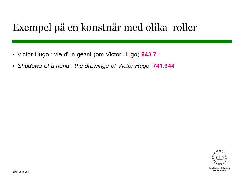 Sidnummer 41 Exempel på en konstnär med olika roller Victor Hugo : vie d un géant (om Victor Hugo) 843.7 Shadows of a hand : the drawings of Victor Hugo 741.944