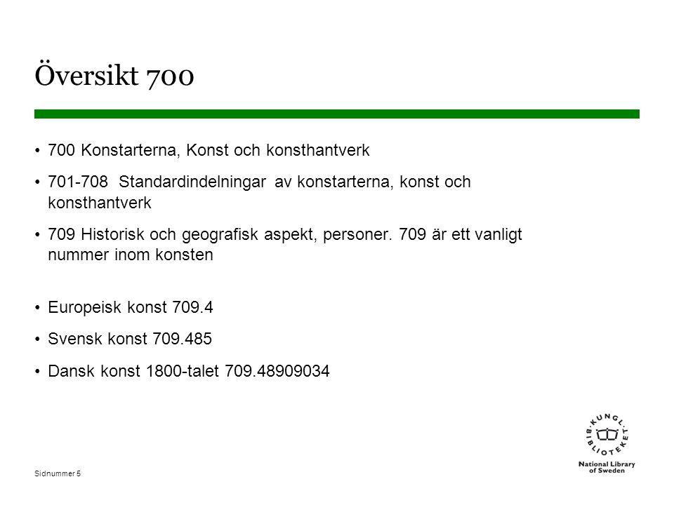 Sidnummer 5 Översikt 700 700 Konstarterna, Konst och konsthantverk 701-708 Standardindelningar av konstarterna, konst och konsthantverk 709 Historisk och geografisk aspekt, personer.