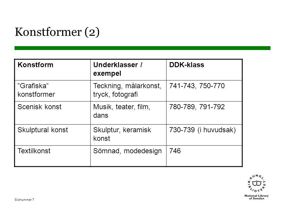 Sidnummer 7 Konstformer (2) Konstform Underklasser / exempel DDK-klass Grafiska konstformer Teckning, målarkonst, tryck, fotografi 741-743, 750-770 Scenisk konst Musik, teater, film, dans 780-789, 791-792 Skulptural konst Skulptur, keramisk konst 730-739 (i huvudsak) TextilkonstSömnad, modedesign746
