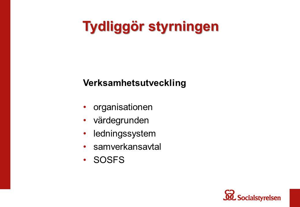 Verksamhetsutveckling organisationen värdegrunden ledningssystem samverkansavtal SOSFS Tydliggör styrningen